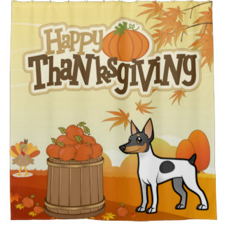 Happy Thanksgiving Toy Fox Terrier Shower Curtain