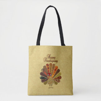 Happy Thanksgiving Turkey All-Over-Print Tote Bag