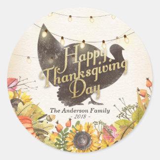 Happy Thanksgiving Turkey Autumn Leaves Pumpkins Classic Round Sticker