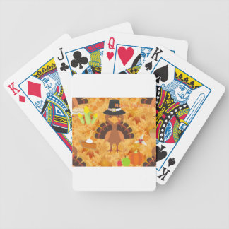 happy thanksgiving turkey bicycle playing cards
