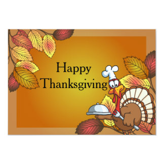 Happy Thanksgiving Turkey Dinner 13 Cm X 18 Cm Invitation Card