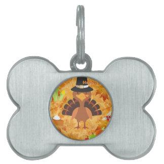 happy thanksgiving turkey pet name tag