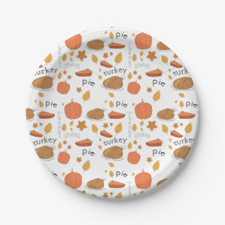Happy Thanksgiving Turkey & Pumpkin Pie Paper Plate