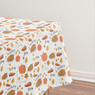 Happy Thanksgiving Turkey & Pumpkin Pie Tablecloth