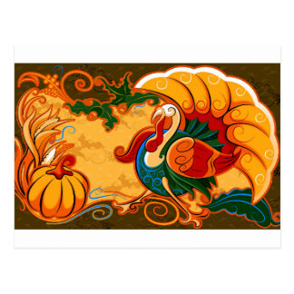 Happy Thanksgiving Turkey Pumpkin Postcard