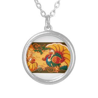 Happy Thanksgiving Turkey Pumpkin Silver Plated Necklace