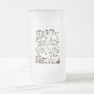 Happy Thanksgiving Typography Gold Harvest Pumpkin Frosted Glass Beer Mug