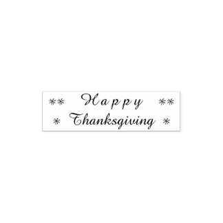 Happy Thanksgiving Typography Stars Stamp