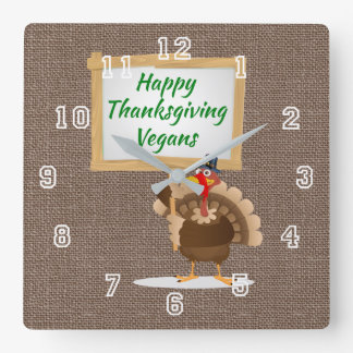 Happy Thanksgiving Vegans Turkey Country Burlap Square Wall Clock