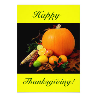 "Happy Thanksgiving VI With Pumpkin And Fruit 5"" X 7"" Invitation Card"
