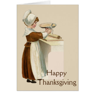 Happy Thanksgiving, Vintage Image of Girl Baking Card