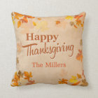 Happy Thanksgiving Vintage Rustic Autumn Leaves Cushion