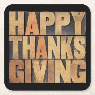 Happy Thanksgiving - Vintage Square Paper Coaster