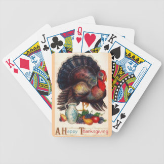 Happy Thanksgiving Vintage Turkey Bicycle Playing Cards