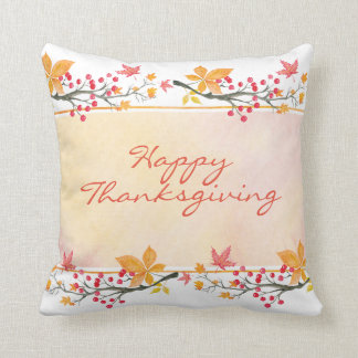 Happy Thanksgiving Watercolor Throw Pillow