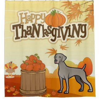 Happy Thanksgiving Weimaraner Shower Curtain