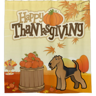 Happy Thanksgiving Welsh Terrier Shower Curtain