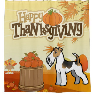 Happy Thanksgiving Wire Fox Terrier Shower Curtain