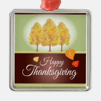 Happy Thanksgiving with Fall Trees Metal Ornament