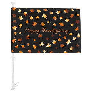 Happy Thanksgiving with Leaves Car Flag