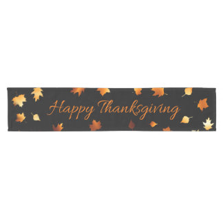 Happy Thanksgiving with Leaves Short Table Runner