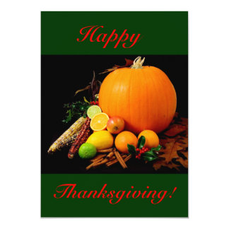 "Happy Thanksgiving With Pumpkin And Fruit I 5"" X 7"" Invitation Card"
