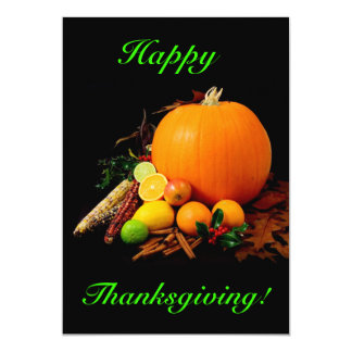 """Happy Thanksgiving With Pumpkin And Fruit 5"""" X 7"""" Invitation Card"""