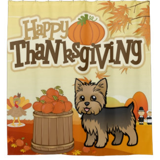 Happy Thanksgiving Yorkie Shower Curtain