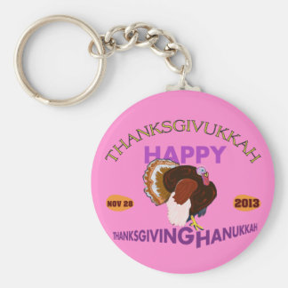 Happy Thanksgivukkah, Thanksgiving and Hanukkah Basic Round Button Key Ring