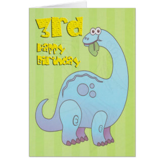 Happy Third Birthday Blue Dinosaur Card