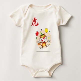 Happy Tiger In Party Baby Bodysuit