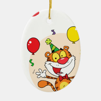Happy Tiger In Party Ceramic Oval Decoration