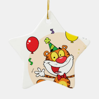 Happy Tiger In Party Ceramic Star Decoration