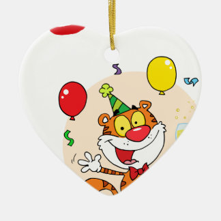 Happy Tiger In Party Ceramic Heart Decoration