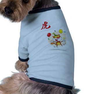 Happy Tiger In Party Dog Tee Shirt