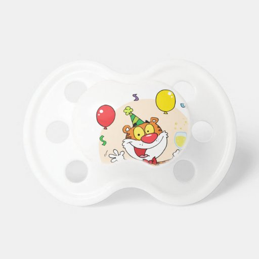 Happy Tiger In Party Pacifiers
