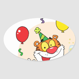 Happy Tiger In Party Oval Sticker