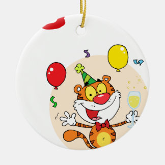 Happy Tiger In Party Round Ceramic Decoration