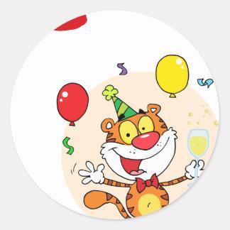Happy Tiger In Party Round Sticker