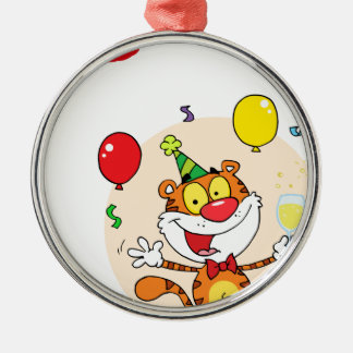 Happy Tiger In Party Silver-Colored Round Decoration