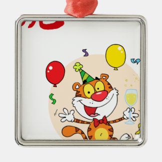 Happy Tiger In Party Silver-Colored Square Decoration