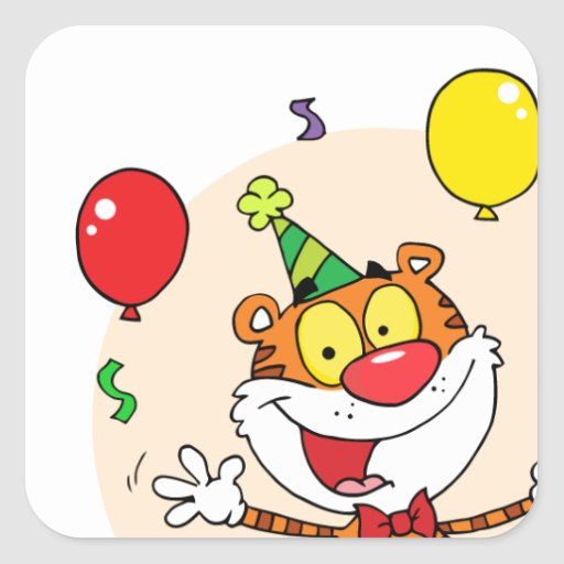 Happy Tiger In Party Stickers