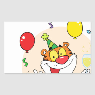 Happy Tiger In Party Rectangular Sticker