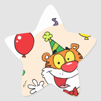 Happy Tiger In Party Star Sticker