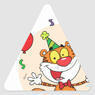 Happy Tiger In Party Triangle Sticker