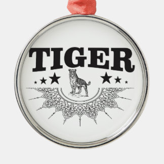 happy tiger metal ornament