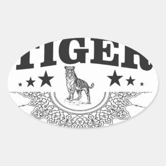 happy tiger oval sticker