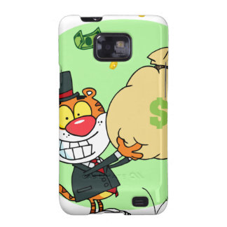 Happy Tiger Rolling in the Money Galaxy S2 Cover