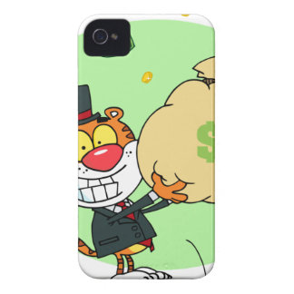 Happy Tiger Rolling in the Money iPhone 4 Cover