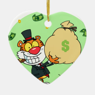 Happy Tiger Rolling in the Money Ceramic Heart Decoration